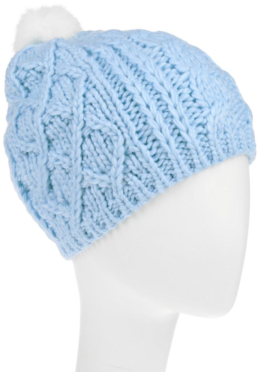 Шапка для девочки Sela, цвет: голубой. HAk-641/016-6303. Размер 54/56 шапка женская sela цвет серый hak 141 019w 6404 размер 56 58