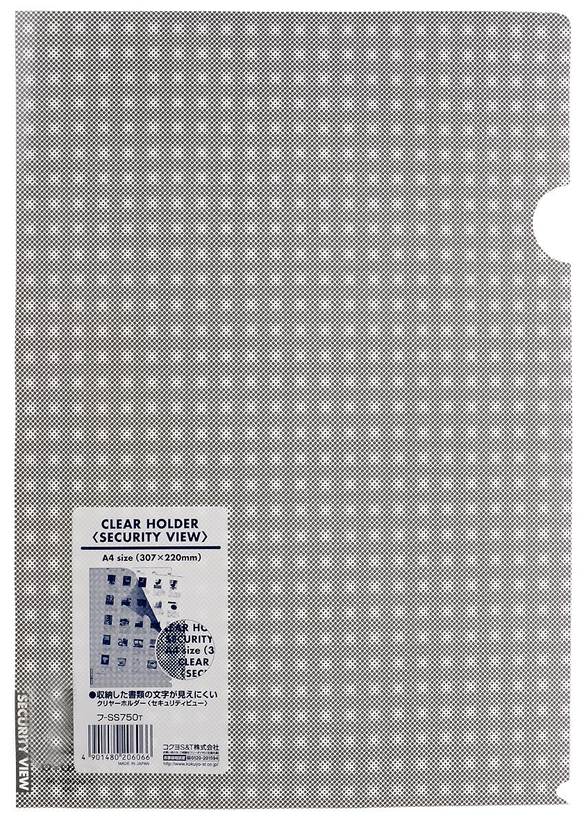 Kokuyo Папка-уголок Security цвет серый828447Папка-уголок Kokuyo Security подойдет для хранения документов и тетрадей как для офисного работника, так и для студента или школьника. По форме это обычная папка-уголок формата А4, но ее обложка декорирована специальным рисунком в клетку, который не позволит прочитать документы, которые хранятся в этой папке.Изготовлена папка из качественного пластика, и ее всегда можно будет носить с собой на выездные встречи или просто в портфеле в школу.