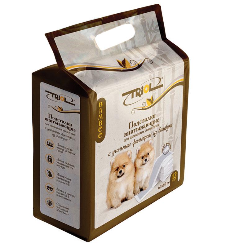 Подстилки для домашних животных Triol, впитывающие, с угольным фильтром, 60 х 60 см, 12 штDP13Подстилки впитывающие для домашних животных Triol содержат угольный абсорбент изготовленный из бамбука, который отлично впитывает жидкость, оставляя поверхность сухой, и надежно удерживает запах, имеют липкие фиксаторы, которые прочно крепятся к поверхности, что исключает заминание углов и протекания жидкости.Размер: 60 х 60 см.