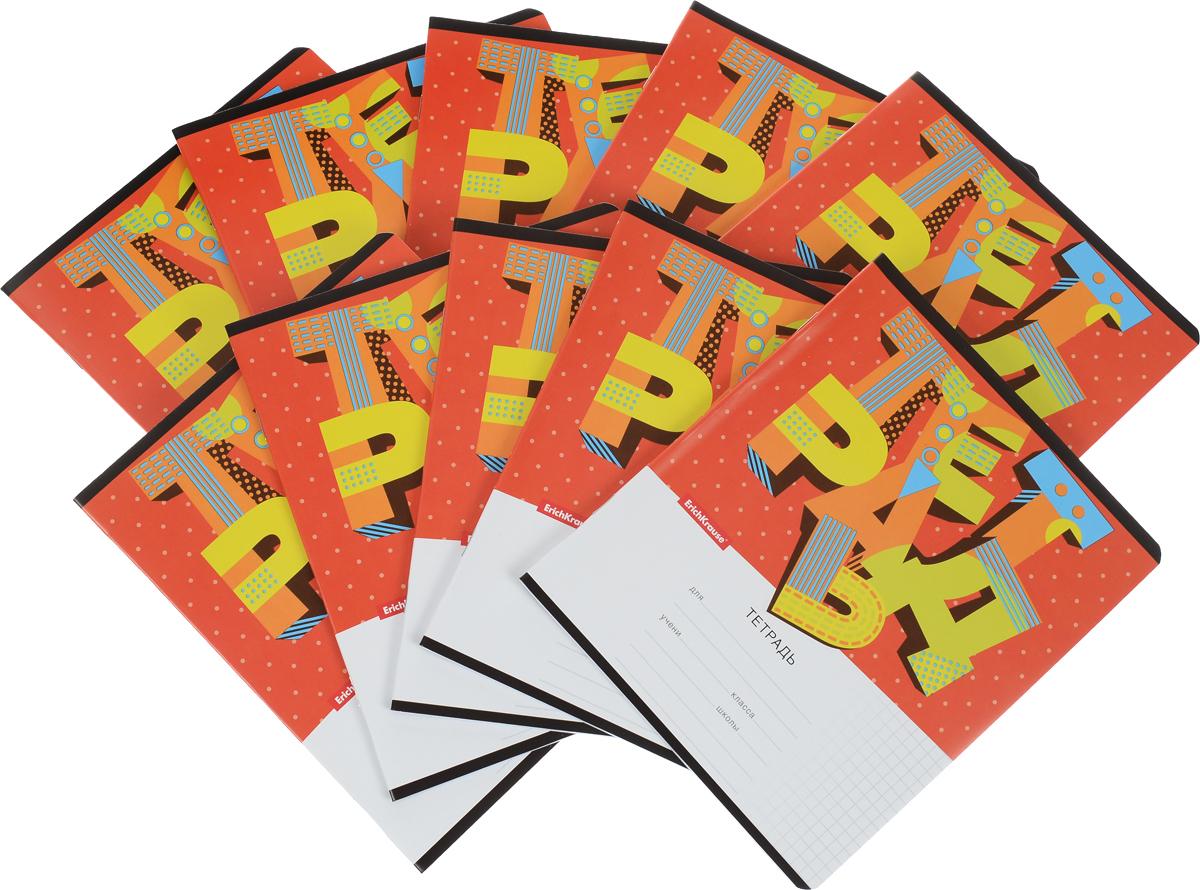 Erich Krause Набор тетрадей 3D Letters 24 листа в клетку цвет красный 10 шт37540_красныйКомплект тетрадей Erich Krause 3D Letters предназначена для младших школьников. Обложка тетрадей выполнена из плотного картона с закругленными углами. На обратной стороне обложки представлена таблица умножения и метрическая система мер. Внутренний блок тетрадей состоит из 24 листов белой бумаги на металлических скрепках в клетку с красными полями.В наборе 10 тетрадей.