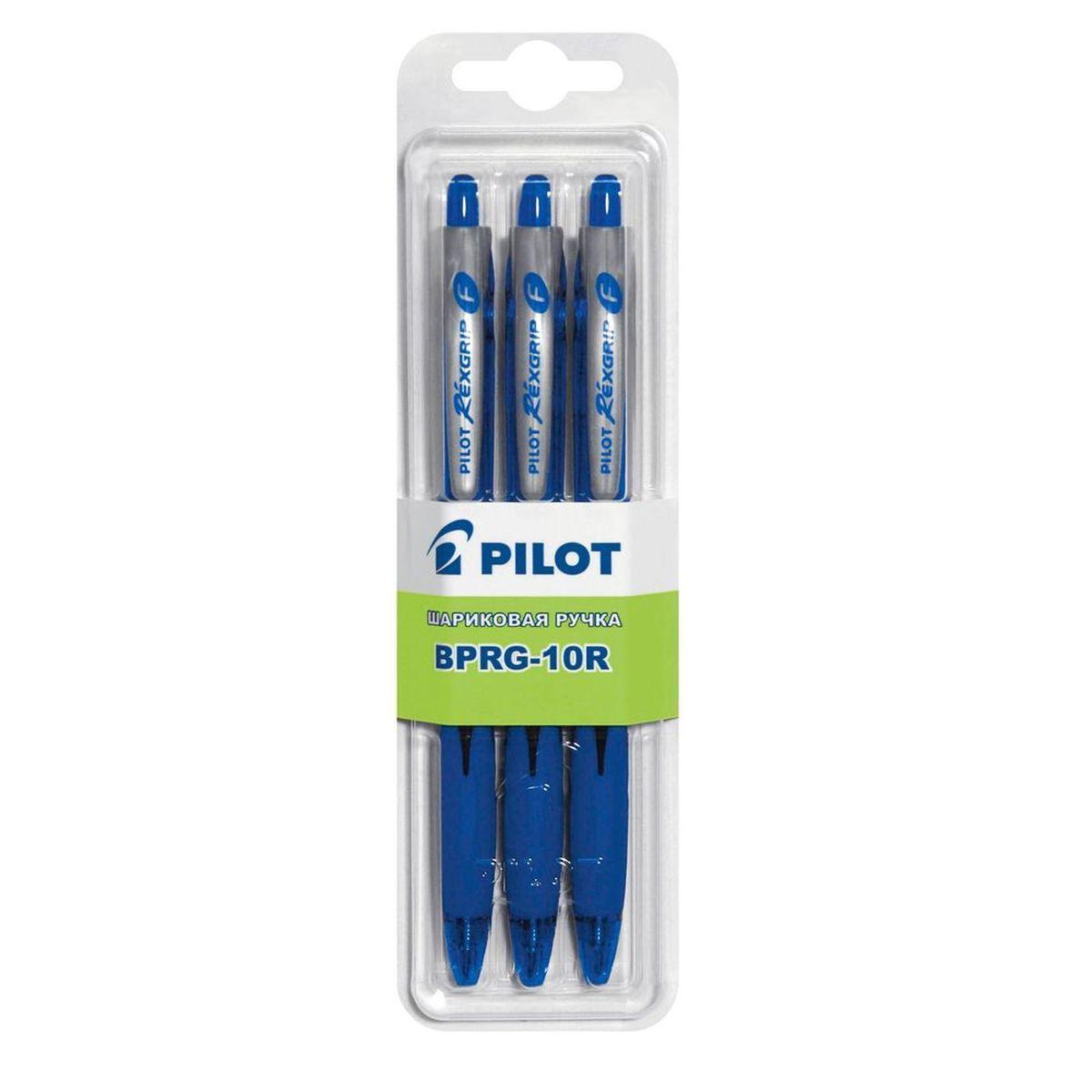 Pilot Набор шариковых ручек BPRG-10R цвет синий 3 шт pilot набор шариковых ручек bpgp 10r цвет синий 3 шт