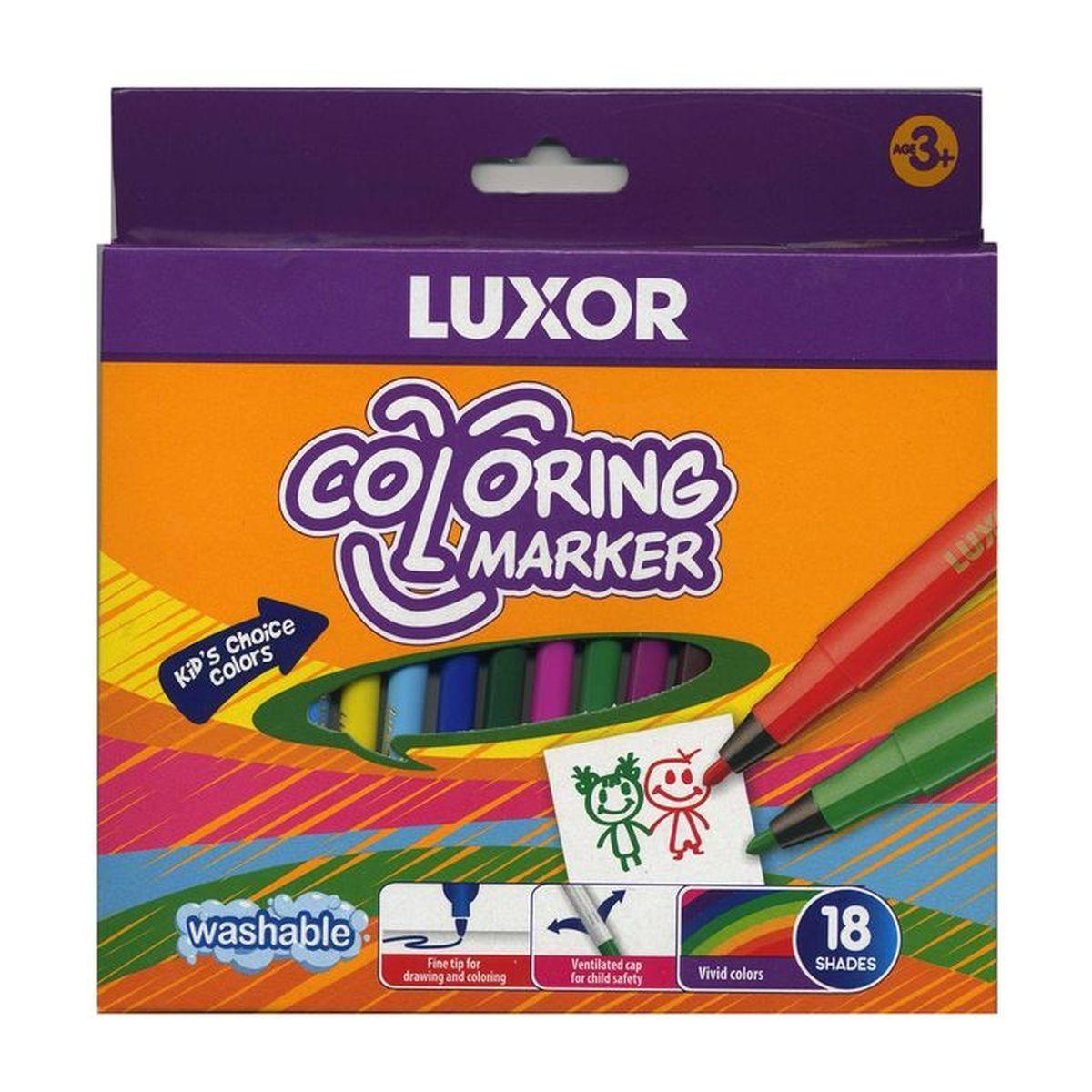 Luxor Набор фломастеров 18 шт6101/18BЯркий и практичный набор фломастеров Luxor с продуманной палитрой цветов, непременно понравится вашему юному художнику. Корпус из пластика предохраняет чернила от преждевременного высыхания, гарантирует длительный срок службы. Фломастеры подходят как для рисования, так и для письма. Толщина линии 0,8 мм. Набор содержит 18 фломастеров ярких насыщенных цветов.