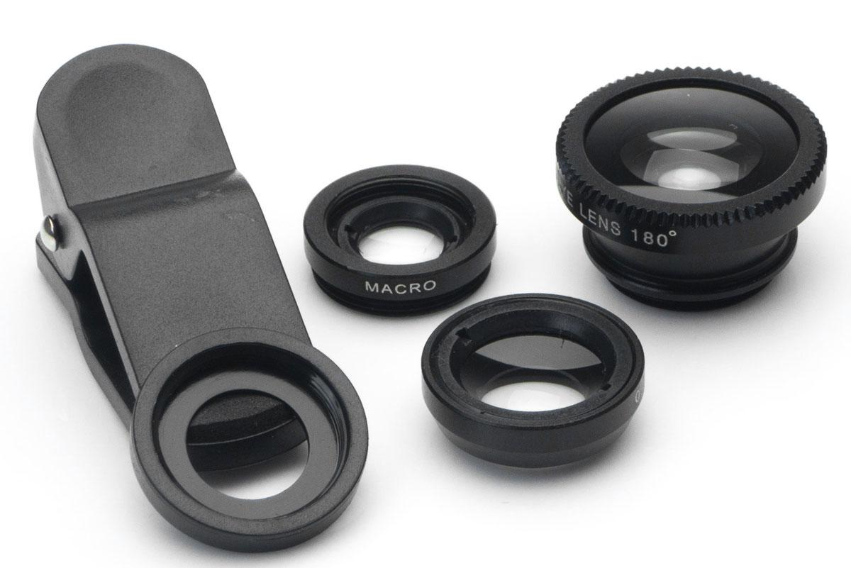 Harper UCL-003, Black набор объективов 3 в 1H00000542Набор объективов Harper UCL-003. Линзы подходят как для телефонов, так и для планшетов.Набор объективов включает в себя: Fish Eye - объектив, угол изображения которого близок к ста восьмидесяти градусам Wide Angle Lens - широкоугольный объектив, увеличивает угол съемки примерно на 49% Macro - позволяет снимать мелкие предметы с фокусным расстоянием 1,5 - 2,3 см.