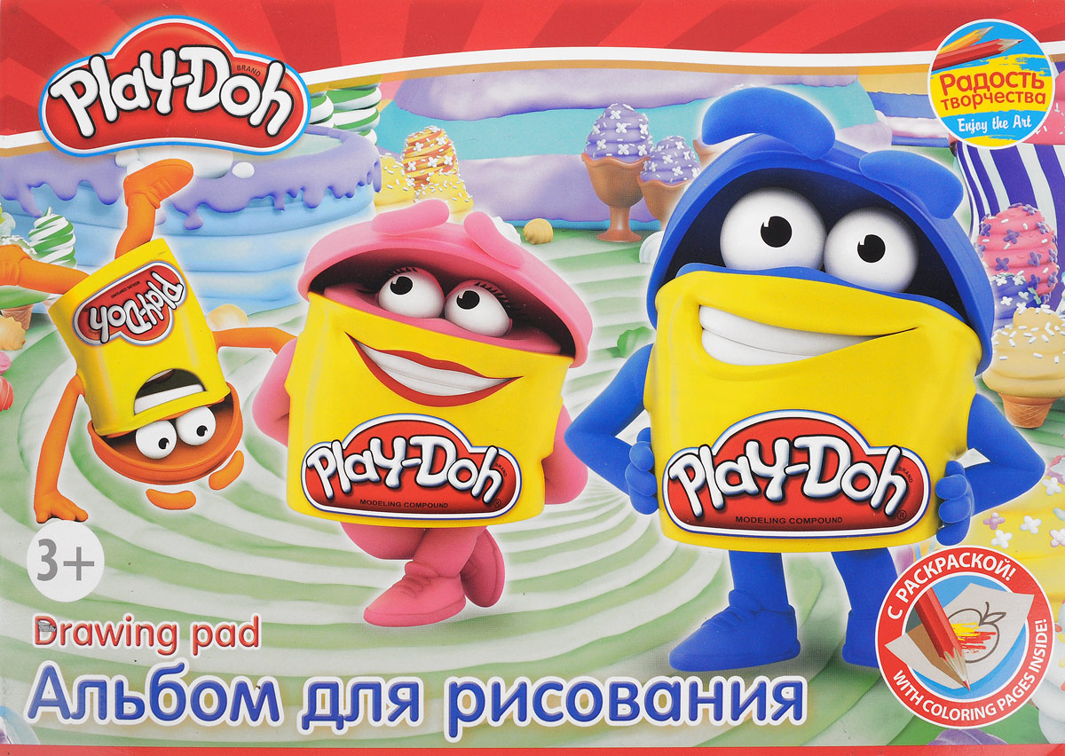 Play-Doh Альбом для рисования 20 листов цвет синийPD5/2_синийАльбом для рисования Play-Doh будет вдохновлять ребенка на творческий процесс.Альбом изготовлен из белоснежной бумаги с яркой обложкой из плотного картона, оформленной изображением веселых Додошек. Внутренний блок альбома состоит из 20 листов бумаги. Первые 2 листа в альбоме - раскраски. При необходимости ребенок может извлечь раскраски из альбома, не повредив его.Высокое качество бумаги позволяет рисовать в альбоме карандашами, фломастерами, акварельными и гуашевыми красками. Во время рисования совершенствуются ассоциативное, аналитическое и творческое мышление. Занимаясь изобразительным творчеством, малыш тренирует мелкую моторику рук, становится более усидчивым и спокойным.