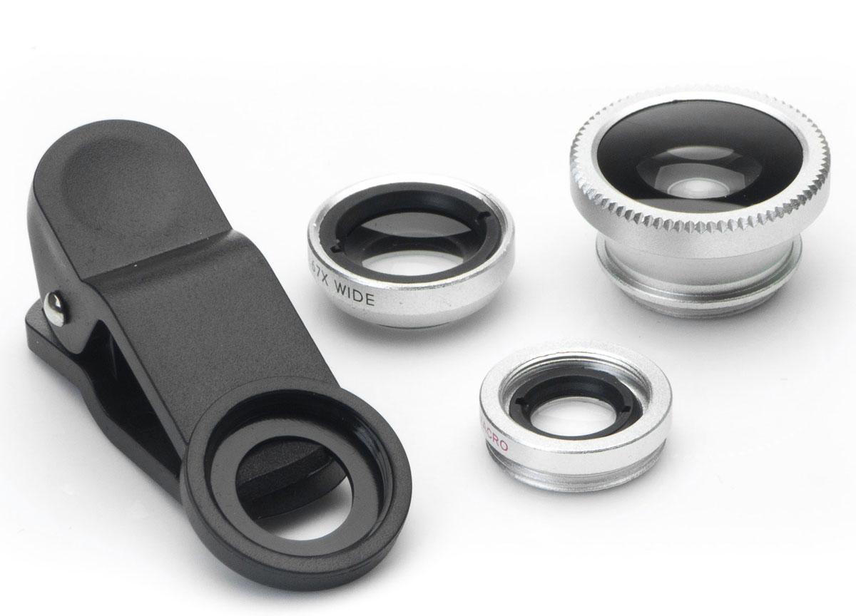 Harper UCL-003, Silver набор объективов 3 в 1H00000541Набор объективов Harper UCL-003. Линзы подходят как для телефонов, так и для планшетов.Набор объективов включает в себя:Fish Eye - объектив, угол изображения которого близок к ста восьмидесяти градусамWide Angle Lens - широкоугольный объектив, увеличивает угол съемки примерно на 49%Macro - позволяет снимать мелкие предметы с фокусным расстоянием 1,5 - 2,3 см.