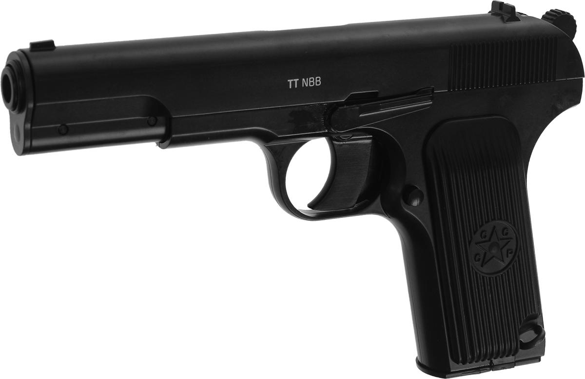 """Gletcher """"TT nbb"""" - это надежный металлический пистолет, повторяющий классическую легендарную модель. Габаритные характеристики идентичны оригиналу. Пистолет имеет подвижный затвор, но не оснащен системой Blowback (возврат затвора при стрельбе). Благодаря этому обеспечивается высокая начальное скорость дроби, повышенная точность стрельбы, сокращается расход газа. Действующая затворная задержка. Пистолет оснащен предохранителем. Ударно-спусковой механизм двойного действия (Double Action) обеспечивает стрельбу как самовзводом, так и с предварительным взведением курка.Емкость магазина: 18 шариков.Средняя скорость пули: 120 м/с.Вес пистолета: 620 г.Длина пистолета: 19,5 см.Дульная энергия: менее 3 Дж."""