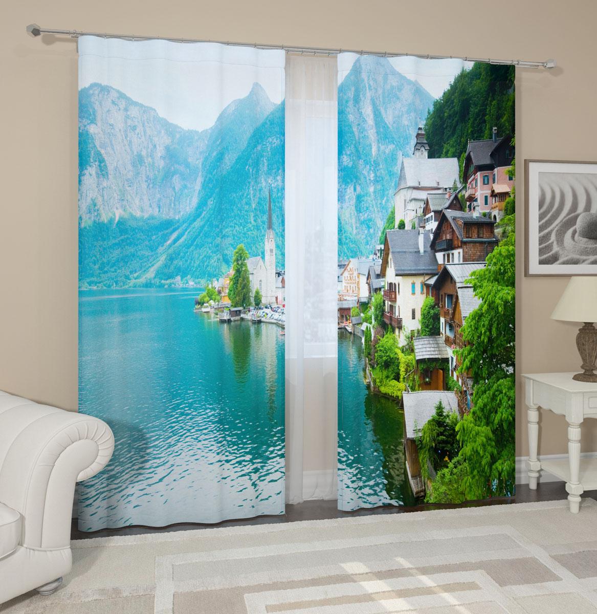 Комплект фотоштор Сирень Город в Альпах, на ленте, высота 260 см