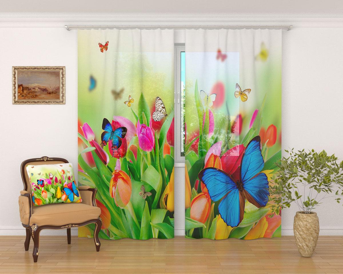 Комплект фототюлей Сирень Бабочки, на ленте, высота 260 см кпб семейноеяркие бабочки сирень кпб семейноеяркие бабочки