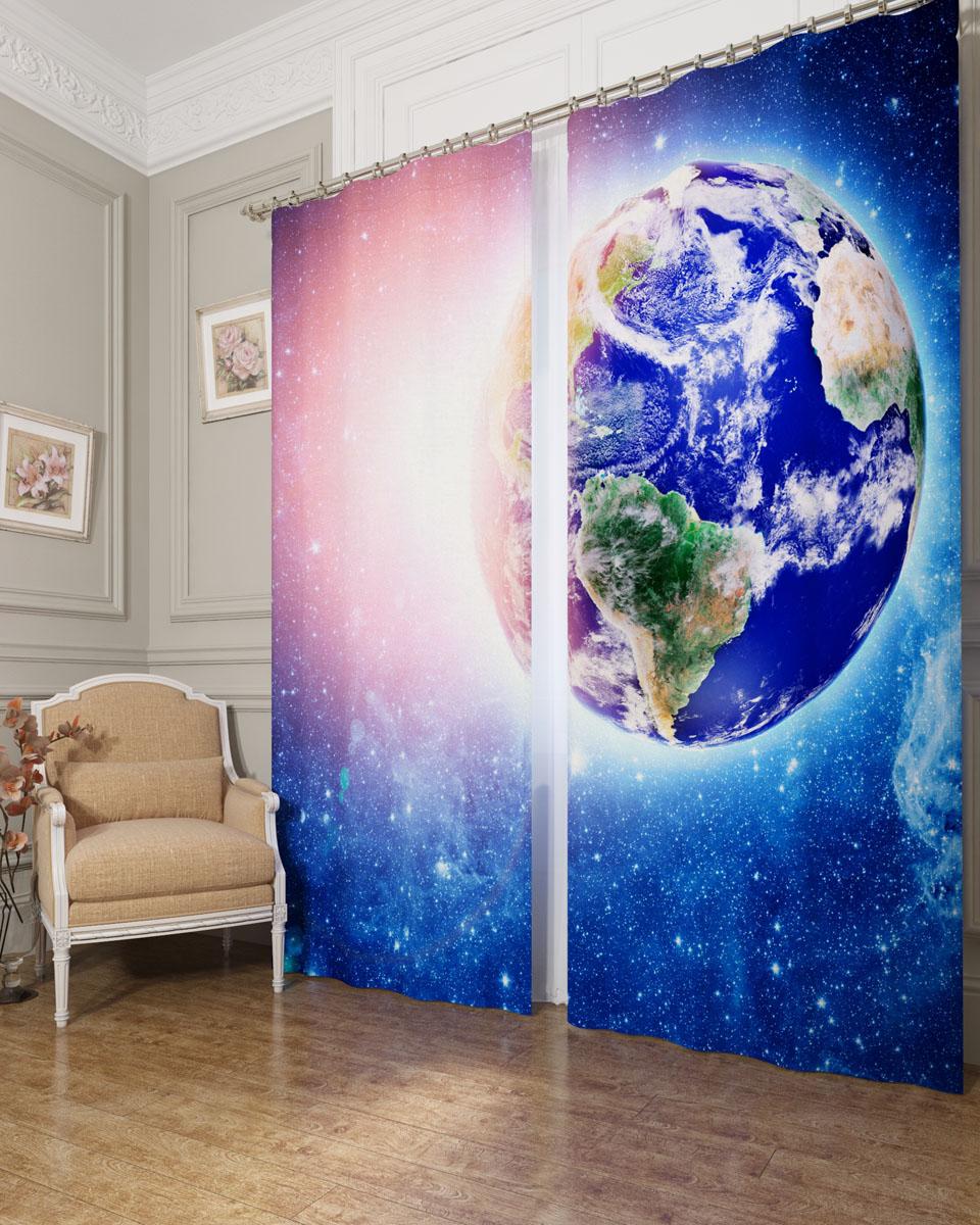 Комплект фотоштор Сирень Земля в лучах солнца, на ленте, высота 260 см бусы из янтаря солнечные дни