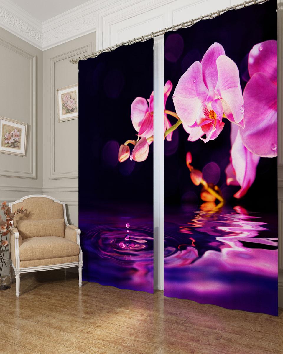 Комплект фотоштор Сирень Орхидея над водой, на ленте, высота 260 см02656-ФШ-БЛ-001Фотошторы Сирень Орхидея над водой, выполненные из блэкаута, отлично дополнят украшение любого интерьера. Блэкаут - это трехслойная светонепроницаемая ткань - 100% полиэстер, по структуре напоминает плотный хлопок, очень мягкий,с небольшим сероватым оттенком из-за черной нити, входящей в состав ткани. Блэкаут не требует особого ухода, хорошо драпируется. Пропускает солнечные лучи не более 5%. Крепление на карниз при помощи шторной ленты на крючки. В комплекте 2 шторы. Ширина одного полотна: 145 см.Высота штор: 260 см.Рекомендации по уходу: стирка при 30 градусах, гладить при температуре до 110 градусов.Изображение на мониторе может немного отличаться от реального.