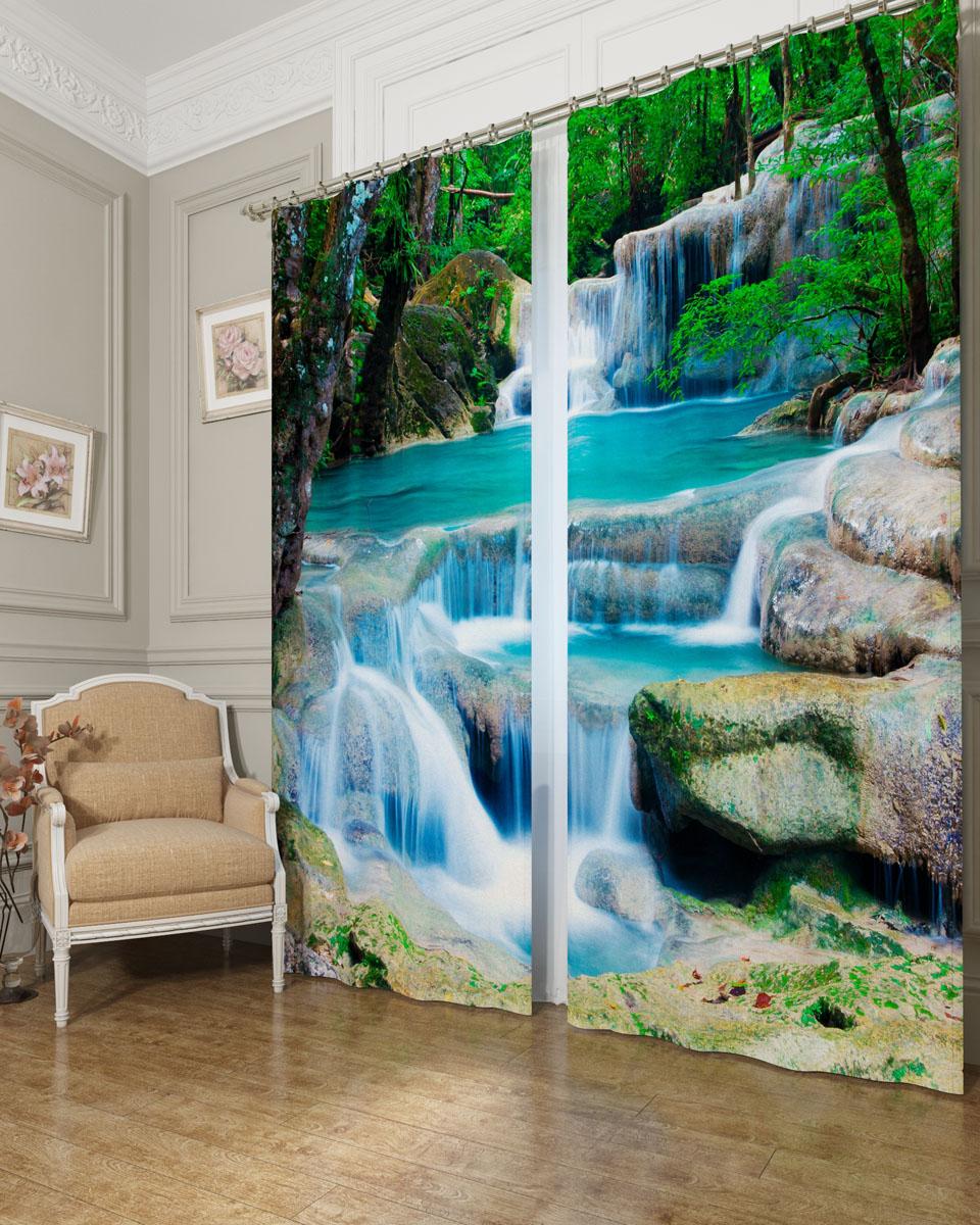Комплект фотоштор Сирень Водопад в лесу, на ленте, высота 260 см комплект фотоштор сирень водопад для двоих на ленте высота 260 см 03747 фш бл 001