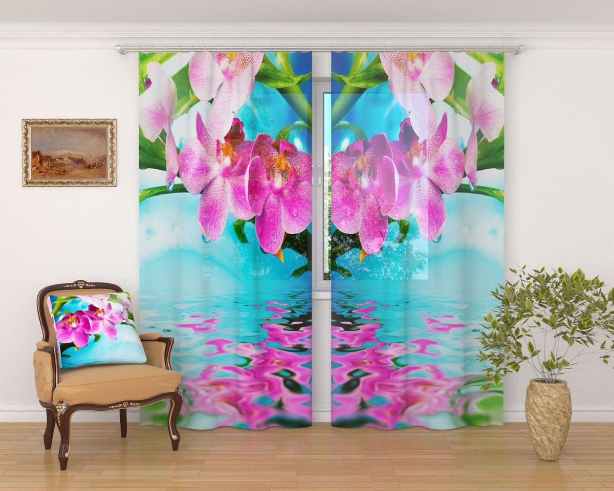 Комплект фототюлей Сирень Тропический цветок, на ленте, высота 260 см фототюль сирень тропический закат