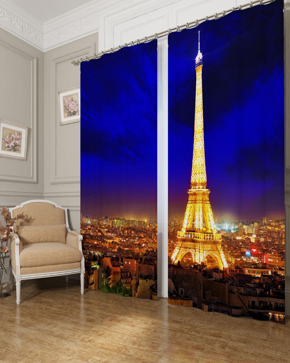 Комплект фотоштор Сирень Яркий Париж, на ленте, высота 260 см. 03238-ФШ-БЛ-001 комплект фотоштор сирень водопад для двоих на ленте высота 260 см 03747 фш бл 001