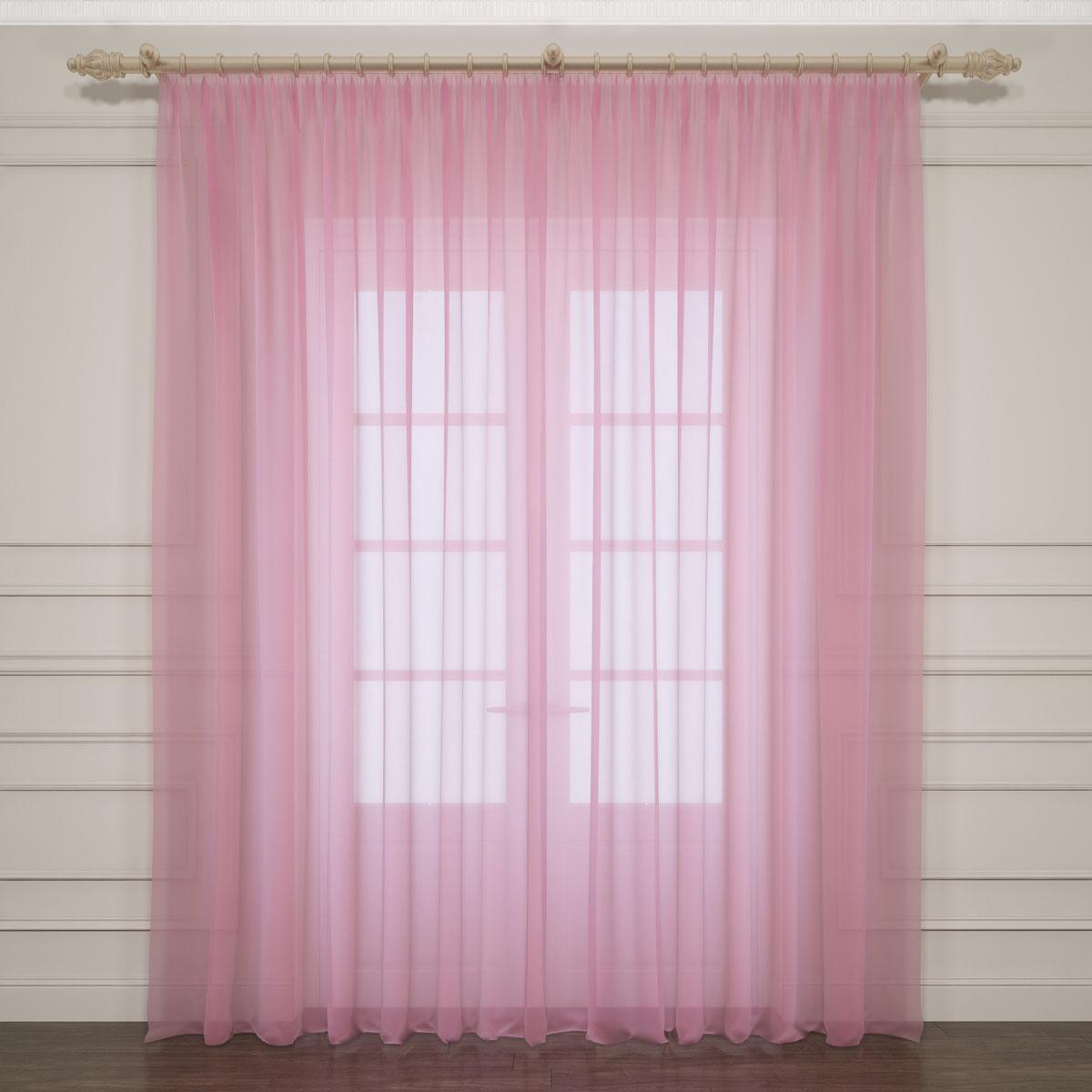 Тюль Сирень, на ленте, цвет: розовый, высота 260 см. 03761-ТЛ-ВЛ-001 комплект фотоштор сирень водопад для двоих на ленте высота 260 см 03747 фш бл 001