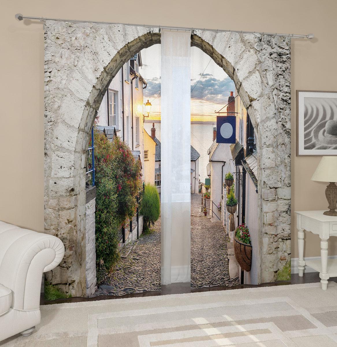 Комплект фотоштор Сирень Каменная арка, на ленте, высота 260 см