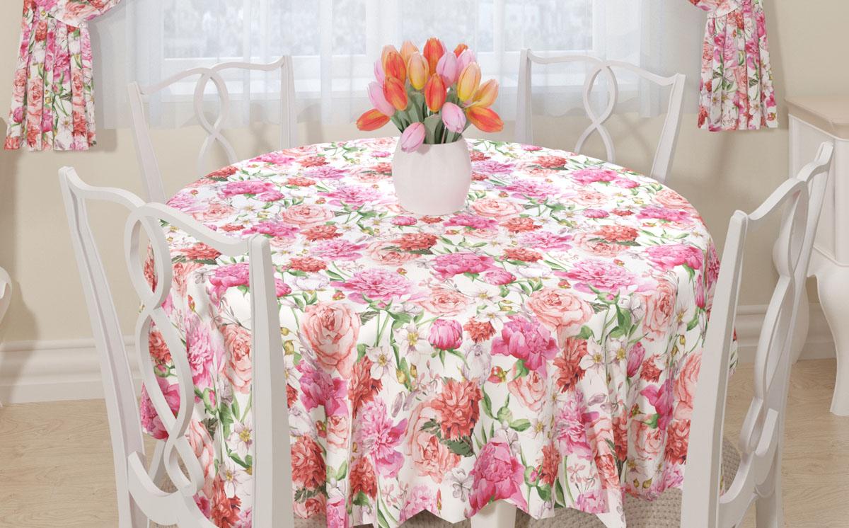 """Прямоугольная скатерть Сирень """"Розовые пионы"""" с ярким и объемным рисунком преобразит вашу кухню, визуально расширит пространство, создаст атмосферу радости и комфорта.   Рекомендации по уходу: стирка при 30 градусах, гладить при температуре до 110 градусов  Изображение может немного отличаться от реального."""