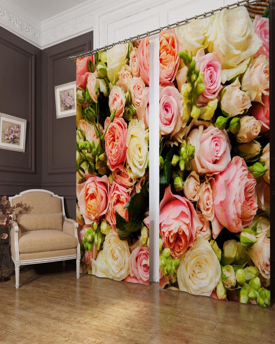 Комплект фотоштор Сирень Букет француских роз, на ленте, высота 260 см. 04479-ФШ-БЛ-001 комплект фотоштор сирень водопад для двоих на ленте высота 260 см 03747 фш бл 001