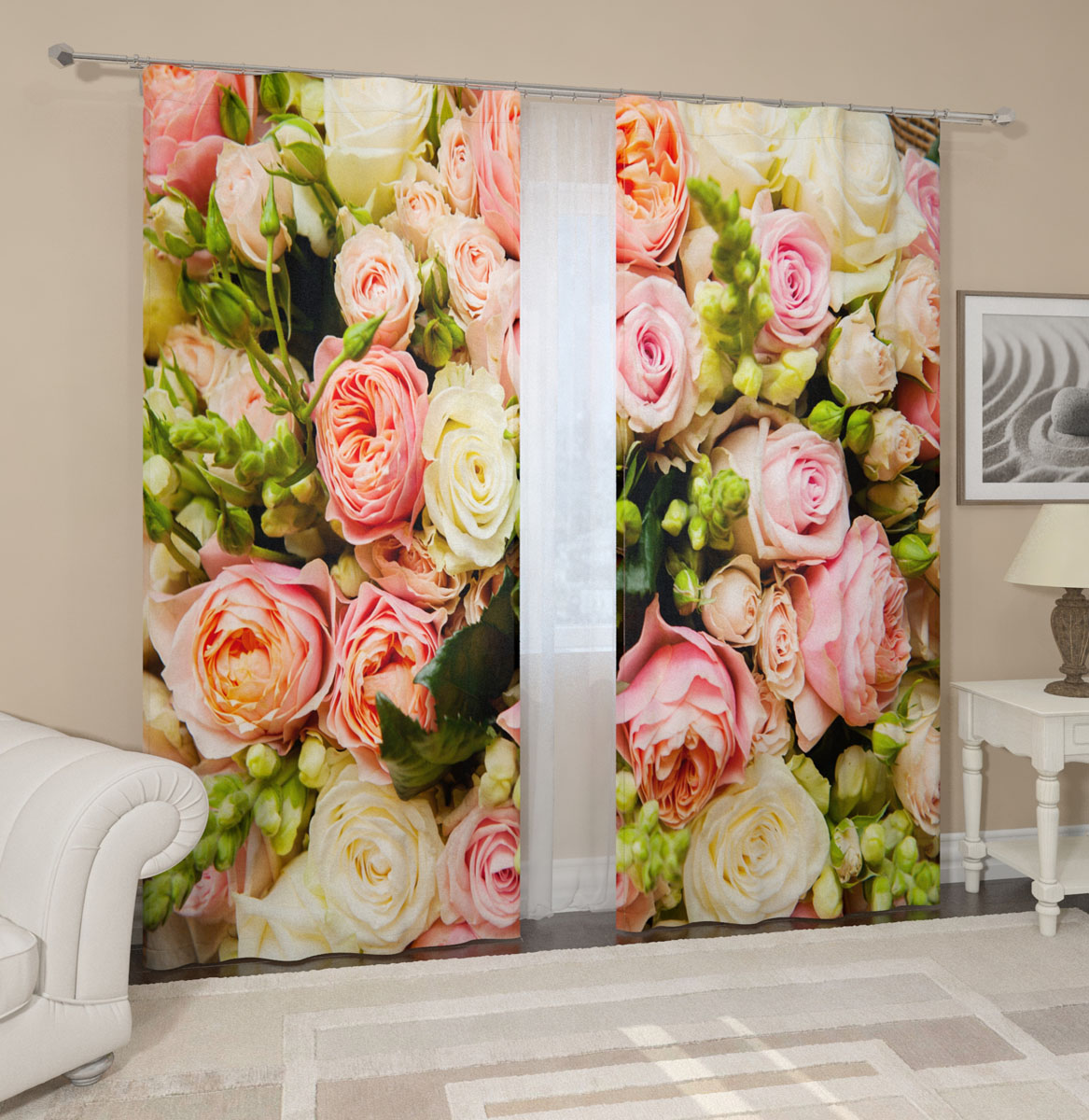 """Комплект фотоштор Сирень """"Букет француских роз"""", на ленте, высота 260 см"""