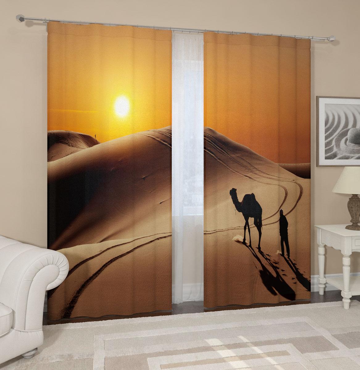 Комплект фотоштор Сирень Пустыня, на ленте, высота 260 см комплект штор сирень в сиреневых тонах на ленте высота 260 см