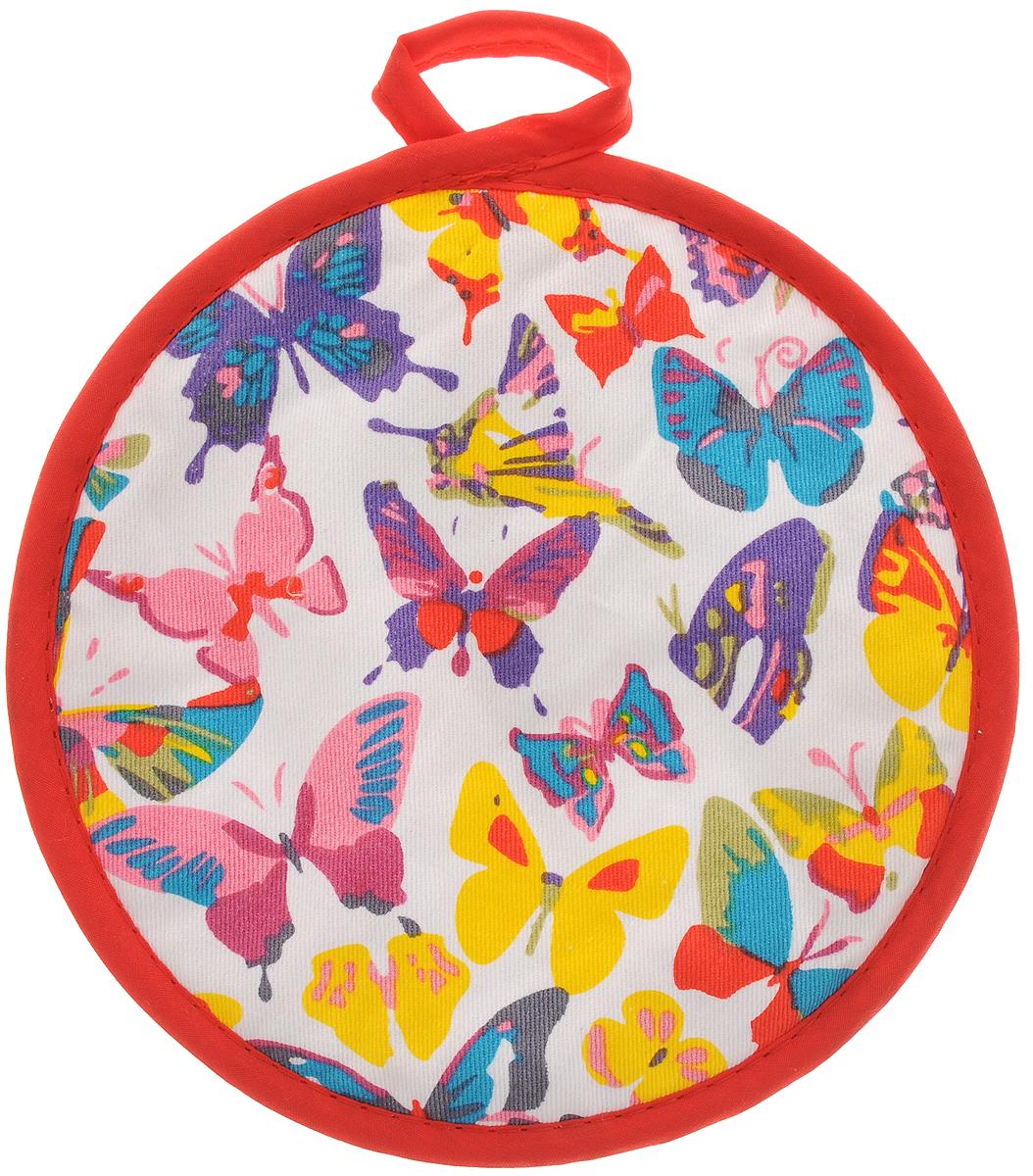 Прихватка Bonita Бабочки, диаметр 18 см1101211569Прихватка Bonita выполнена из натурального хлопка и декорированаоригинальным рисунком.Изделие оснащено специальной петелькой, закоторую его можно подвесить на крючок в любомудобном для вас месте.Такая прихватка красиво дополнит интерьер кухни.