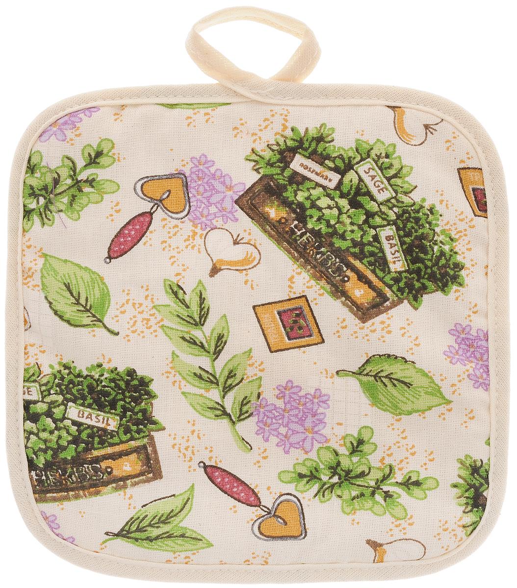 Прихватка Bonita Цветущие травы, 17 х 17 см15010816708Прихватка Bonita выполнена из натурального хлопка и декорирована оригинальным рисунком. Изделие оснащено специальной петелькой, за которую его можно подвесить на крючок в любом удобном для вас месте. Такая прихватка красиво дополнит интерьер кухни.