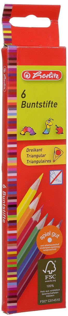 Herlitz Набор цветных карандашей Buntstifte 6 шт10412013Набор цветных карандашей Herlitz Buntstifte поможет создать чудные картины вашему юному художнику.Мягкий грифель легко рисует на бумаге и не царапает ее, устойчив к механическим деформациям и легко затачивается. Трехгранный корпус изготовлен из натуральной древесины и покрыт лаком на водной основе. В набор входят 6 ярких цветных карандашей. С таким набором карандашей от Herlitz будет интересно рисовать не только вашему малышу, но и вам.