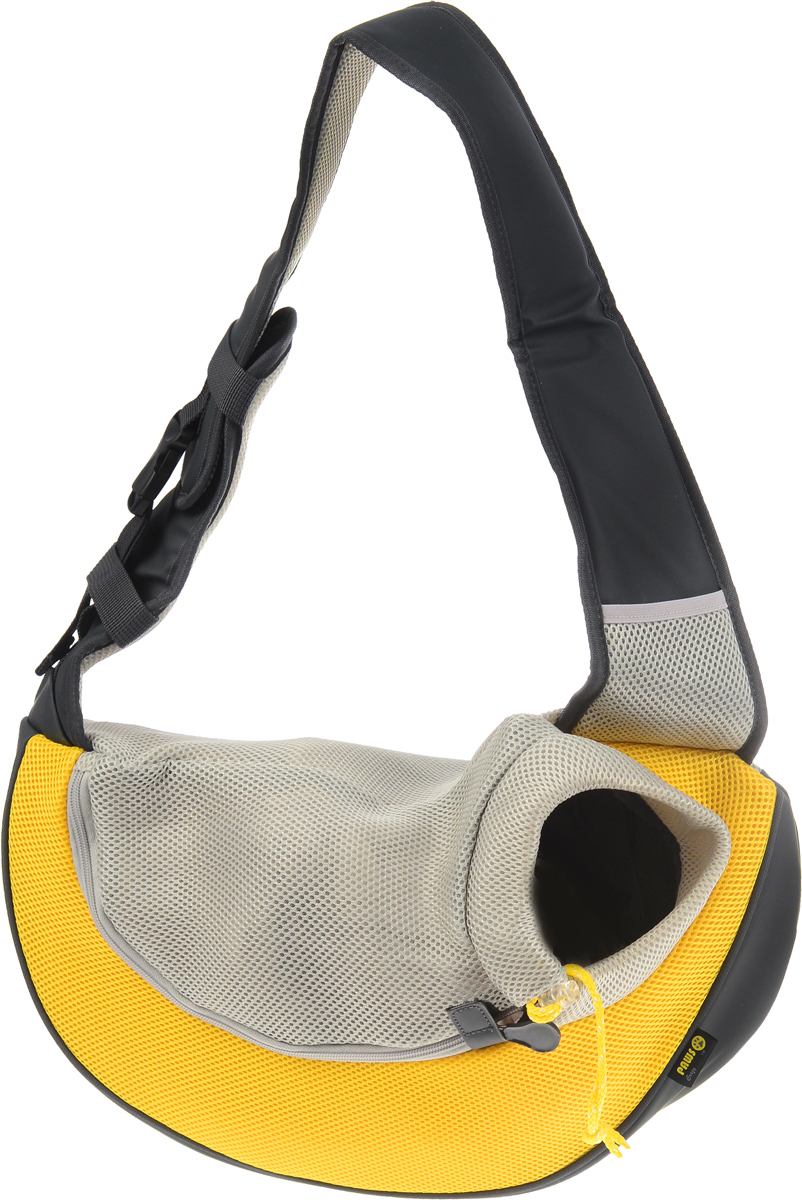 Переноска-слинг для животных Crazy Paws Pet Sling, цвет: желтый, серый, светло-серый. Размер Large ошейник crazy paws large 52x2 5cm black dpetc005 bk
