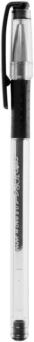 Cello Гелевая ручка Top Gel черная306 264010Гелевая ручка Cello Top Gel в корпусе из ударопрочного пластика прекрасно подойдет как взрослым, так и детям.Колпачок ручки имеет специальное каучуковое гнездо, который защищает не только пишущий узел, но икаучуковую накладку для пальцев. Игловидный пишущий узел изготовлен с прецизионной точностью. В самойручке используются японские гелевые чернила.