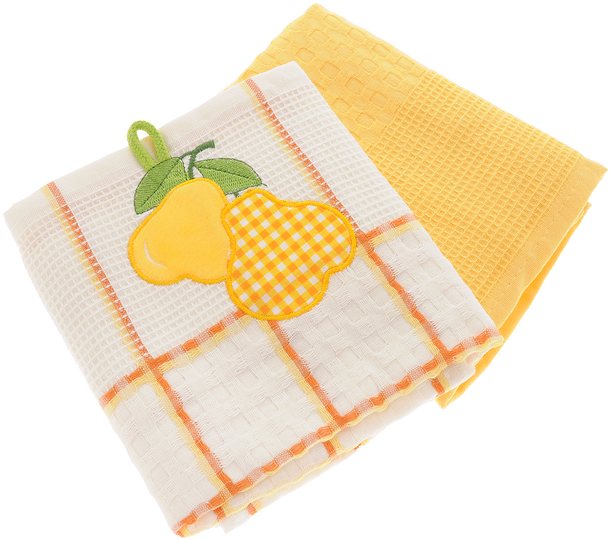 """Набор кухонных полотенец Bonita """"Груша"""" из двух полотенец, изготовленный из натурального хлопка, идеально дополнит интерьер вашей кухни и создаст атмосферу уюта и комфорта. Одно полотенце белого цвета в желтую клетку оформлено вышивкой в виде груш и оснащено петелькой. Другое полотенце однотонное желтого цвета без вышивки. Изделия выполнены из натурального материала, поэтому являются экологически чистыми. Высочайшее качество материала гарантирует безопасность не только взрослых, но и самых маленьких членов семьи. Современный декоративный текстиль для дома должен быть экологически чистым продуктом и отличаться ярким и современным дизайном."""