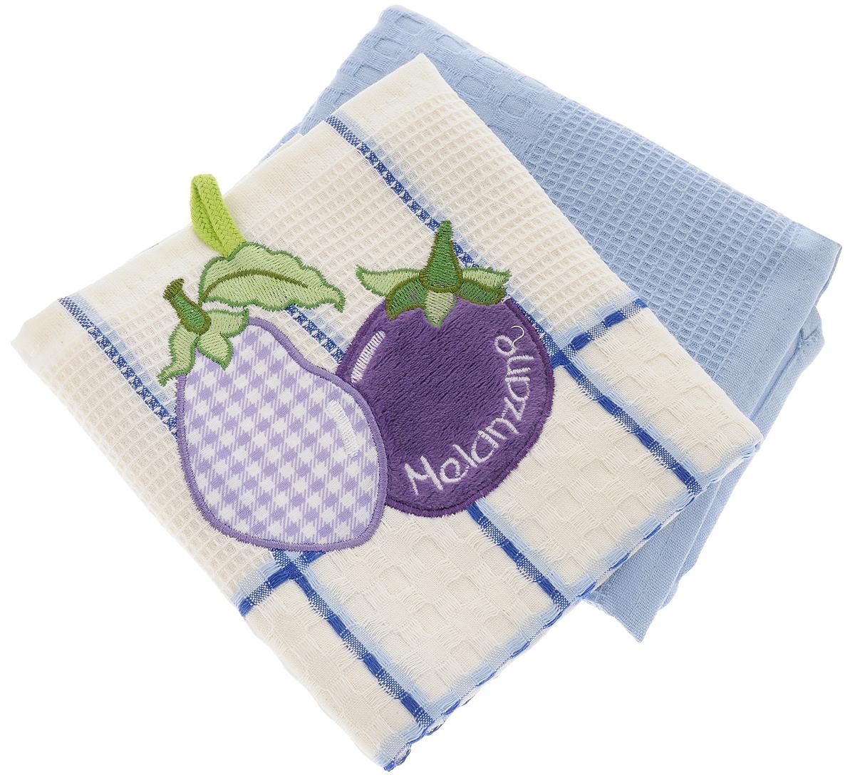 """Набор кухонных полотенец Bonita """"Баклажан"""", цвет: белый, голубой, 45 х 70 см, 2 шт"""