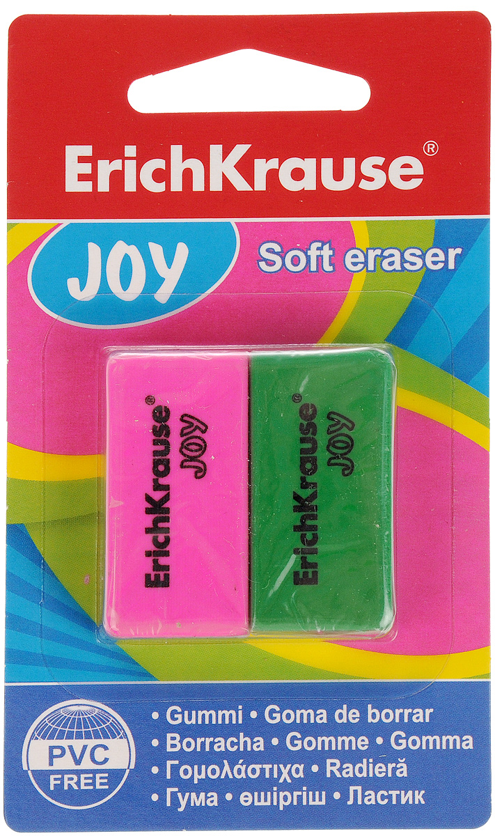 Erich Krause Набор ластиков Joy цвет розовый зеленый 2 шт34650_розовый, зеленыйНабор ластиков Erich Krause Joy станет незаменимым аксессуаром на рабочем столе не только школьника или студента, но и офисного работника. Ластики подходят для работы на всех видах бумаги.При стирании стружка от ластиков скатывается в единый комок, а не рассыпается по всей поверхности бумаги. Не повреждает бумагу.В наборе 2 ластика розового и зеленого цвета.