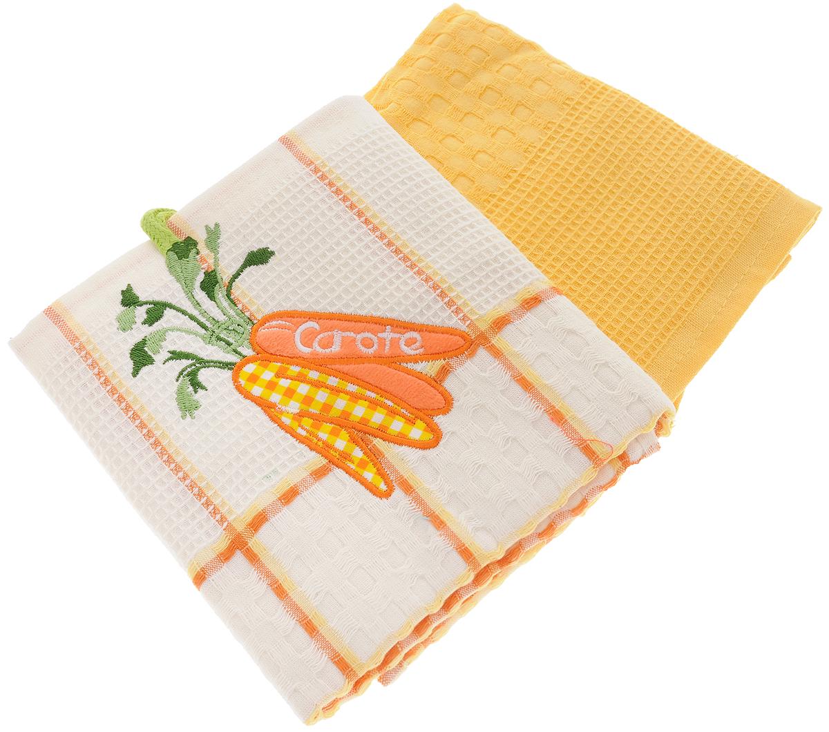 "Набор кухонных полотенец Bonita ""Морковь"", цвет: желтый, белый, 45 х 70 см, 2 шт"