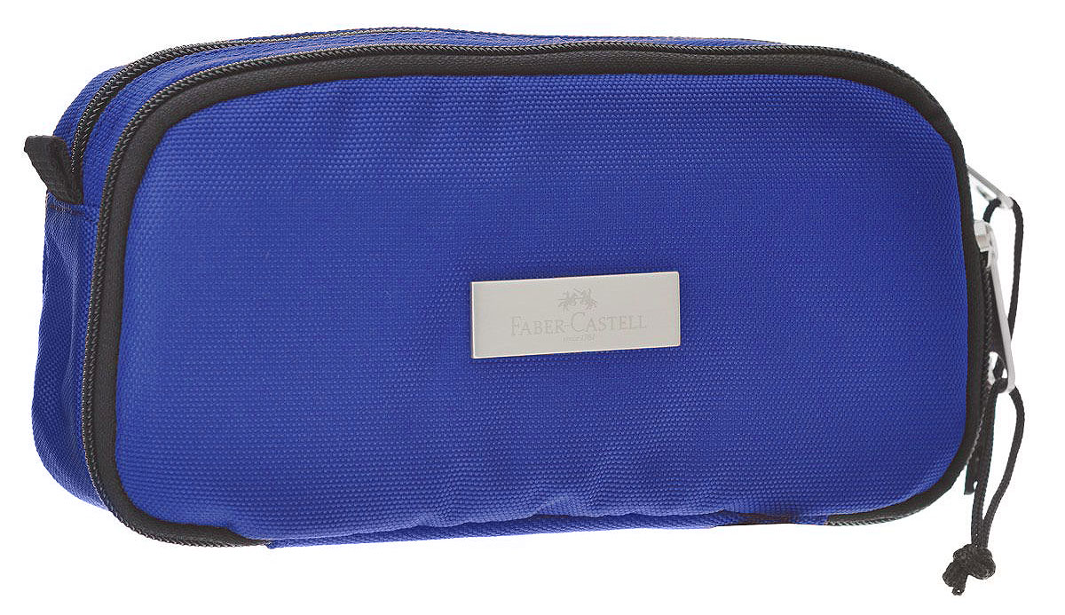 Faber-Castell Пенал цвет синий 191806191806Стильный пенал Faber-Castell выполнен из полиэстера и оформлен металлическим элементом, на который нанесен логотип бренда.Пенал содержит два отделения, которые закрываются на застежки-молнии. В малом отделении расположены два кармана, один из которых закрывается на молнию, а другой на липучку. В таком пенале прекрасно разместятся и останутся в сохранности все письменные принадлежности.