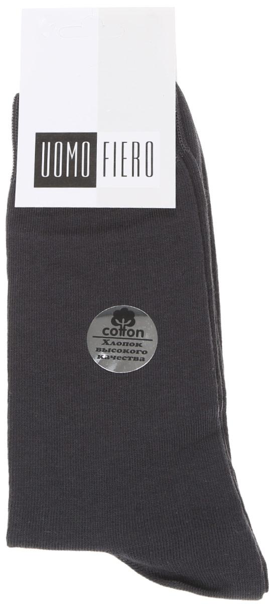 Носки мужские Uomo Fiero, цвет: темно-серый. MS023. Размер 43/45MS023Мужские носки Uomo Fiero изготовлены из высококачественного хлопка с добавлением полиамида. Носки с классическим паголенком дополнены эластичной резинкой, которая надежно фиксирует носки на ноге.