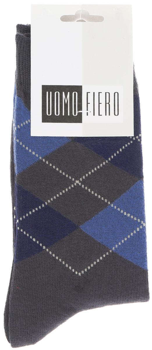 Носки мужские Uomo Fiero, цвет: темно-серый. MS059. Размер 43/45MS059Мужские носки Uomo Fiero изготовлены из высококачественного хлопкового волокна, которое обеспечивает великолепную посадку. Носкиимеют классический паголенок и отличаются элегантным внешним видом. Удобная широкая резинка идеально облегает ногу и не пережимает сосуды, усиленные пятка и мысок повышают износоустойчивость носка. Модель оформлена геометрическим орнаментом. Удобные и комфортные носки великолепно подойдут к любой вашей обуви.