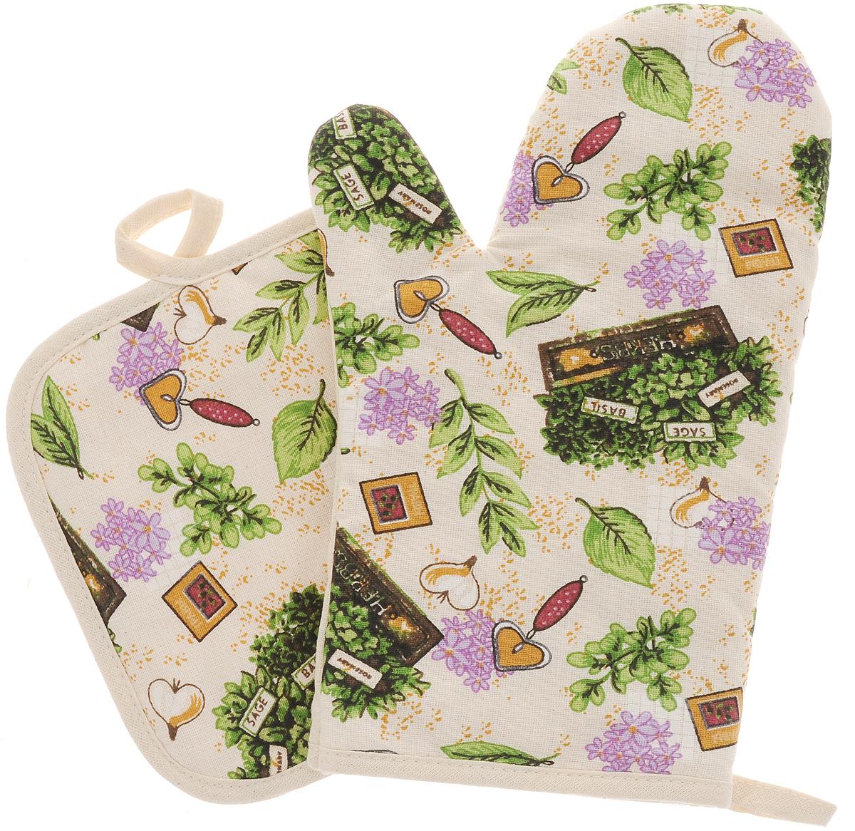 Набор прихваток Bonita Цветущие травы, 2 предмета1101812215Набор Bonita Цветущие травы состоит из прихватки-рукавицы и квадратной прихватки. Изделия выполнены из натурального хлопка и декорированы оригинальным рисунком. Прихватки простеганы, а края окантованы. Оснащены специальными петельками, за которые их можно подвесить на крючок в любом удобном для вас месте. Такой набор красиво дополнит интерьер кухни. Размер прихватки-рукавицы: 16 х 28 см.Размер прихватки: 17 х 17 см.