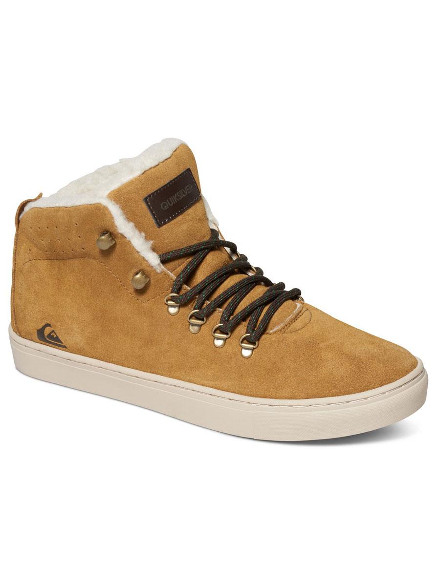 Ботинки мужские Quiksilver Jax, цвет: светло-коричневый. AQYS100014-XCCW. Размер 8 (41)AQYS100014-XCCWМужские ботинки средней высоты Jax от Quiksilver выполнены из натуральной замши с водоотталкивающей пропиткой. Подкладка выполнена из шерсти. Классическая шнуровка надежно зафиксирует модель на ноге. Удобные верхние петли позволяют быстро снимать и надевать ботинки.Многослойная стелька с функцией поддержки подъема стопы обеспечивает комфорт при движении. Гибкая конструкция подошвы Cupsole с рисунком протектора в елочку и логотипом бренда обеспечивает надежное сцепление с любой поверхностью.