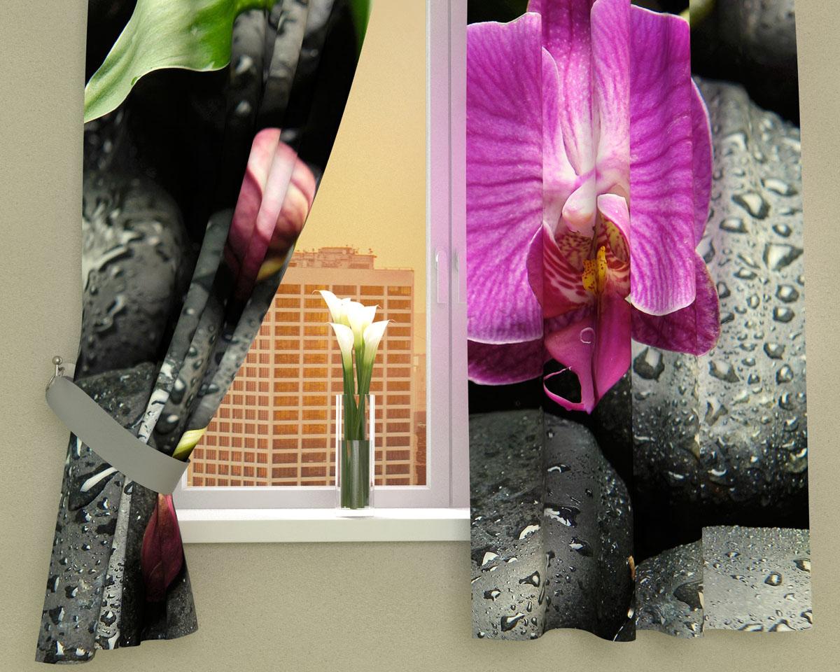 Комплект фотоштор Сирень Орхидея на камнях, на ленте, высота 160 см00209-ФК-ГБ-002Фотошторы для кухни Сирень Орхидея на камнях, выполненные из габардина (100% полиэстера), отлично дополнят украшение любого интерьера. Особенностью ткани габардин является небольшая плотность, из-за чего ткань хорошо пропускает воздух и солнечный свет. Ткань хорошо держит форму, не требует специального ухода. Крепление на карниз при помощи шторной ленты на крючки. В комплекте 2 шторы. Ширина одного полотна: 145 см.Высота штор: 160 см.Рекомендации по уходу: стирка при 30 градусах, гладить при температуре до 110 градусов.Изображение на мониторе может немного отличаться от реального.Подхваты в комплект не входят.