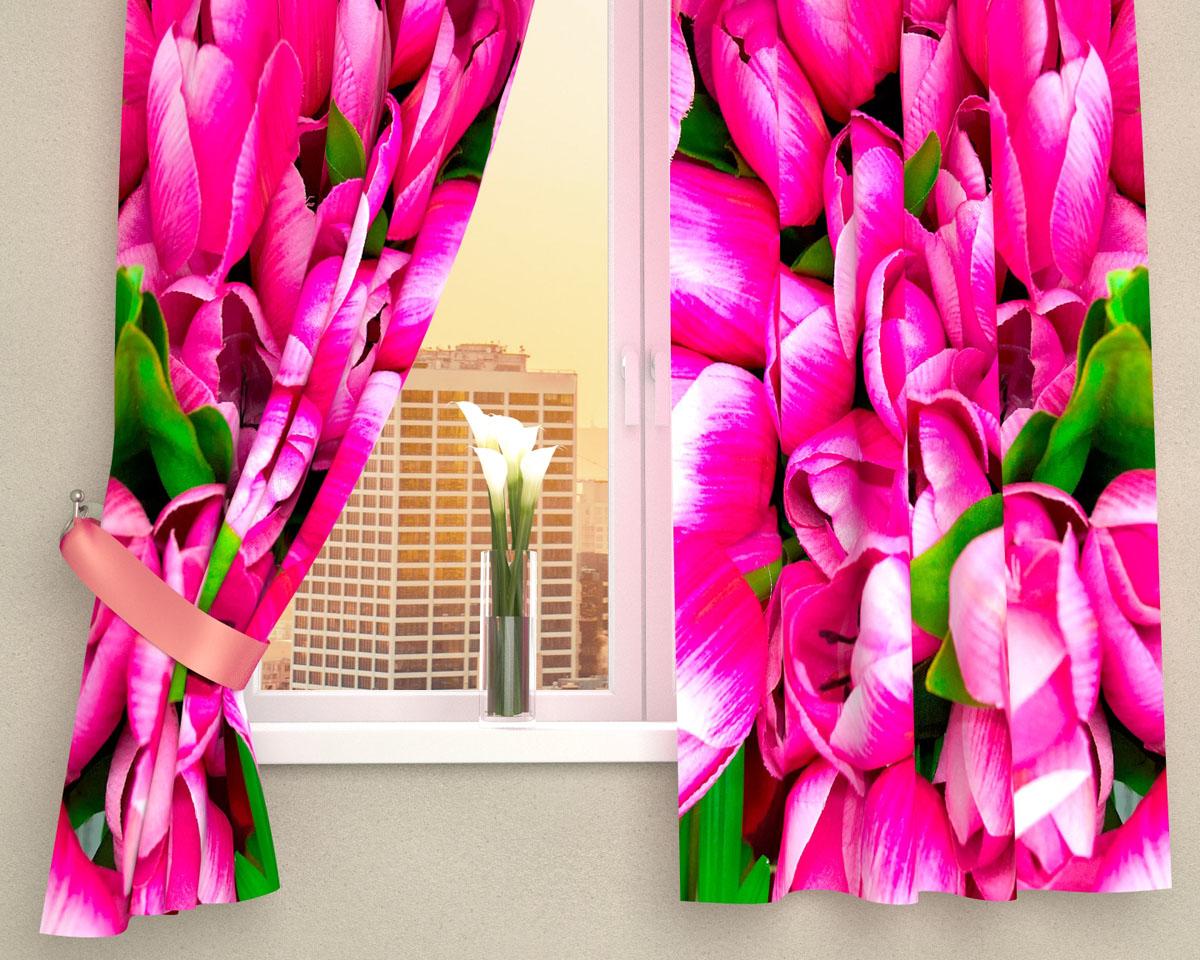 """Комплект фотоштор Сирень """"Розовые тюльпаны"""", на ленте, высота 160 см"""