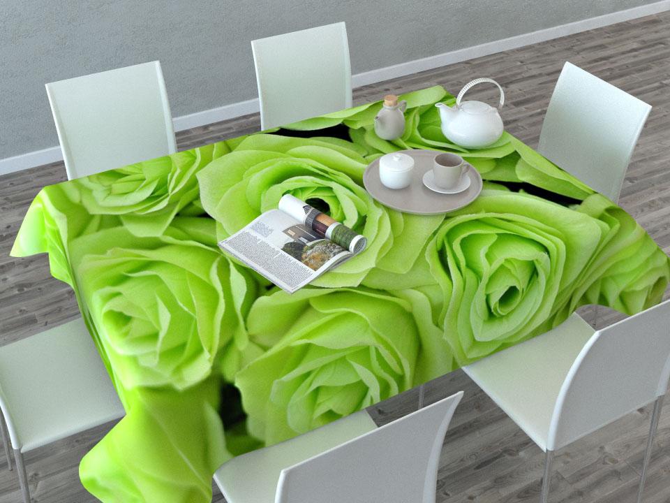 """Прямоугольная скатерть Сирень """"Зеленые розы"""" с ярким и объемным рисунком,  выполненная из габардина, преобразит вашу кухню, визуально расширит  пространство, создаст атмосферу радости и комфорта.   Рекомендации  по уходу: стирка при 30 градусах, гладить при температуре до 110 градусов.    Размер скатерти: 145 х 120 см.  Изображение может немного отличаться от реального."""