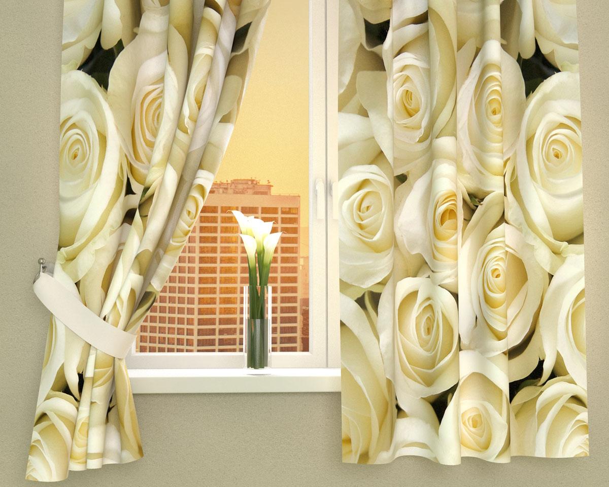 """Комплект фотоштор Сирень """"Душистые розы"""", на ленте, высота 160 см"""