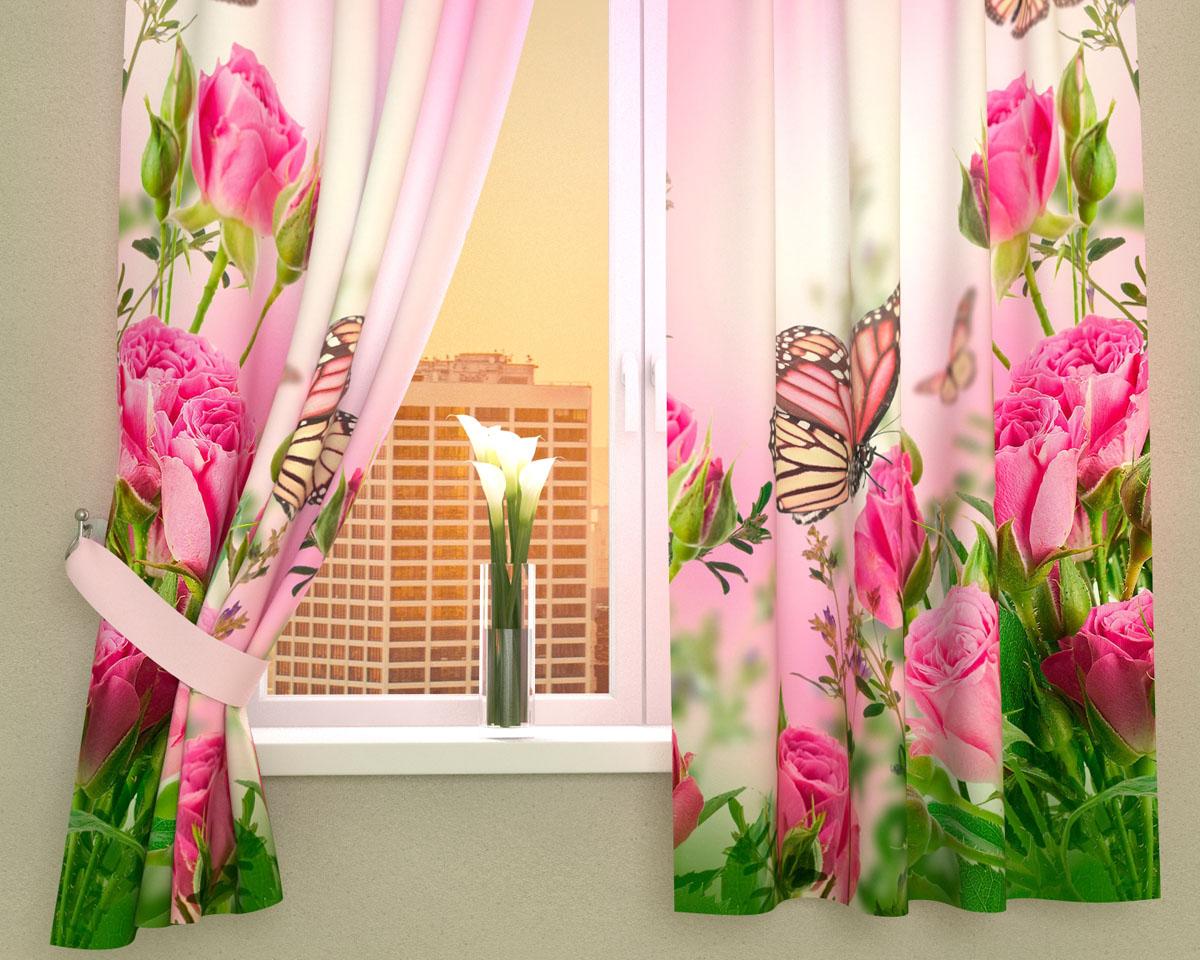 Комплект фотоштор Сирень Стайка бабочек на розах, на ленте, высота 160 см02355-ФК-ГБ-002Фотошторы для кухни Сирень Стайка бабочек на розах, выполненные из габардина (100% полиэстера), отлично дополнят украшение любого интерьера. Особенностью ткани габардин является небольшая плотность, из-за чего ткань хорошо пропускает воздух и солнечный свет. Ткань хорошо держит форму, не требует специального ухода. Крепление на карниз при помощи шторной ленты на крючки. В комплекте 2 шторы. Ширина одного полотна: 145 см.Высота штор: 160 см.Рекомендации по уходу: стирка при 30 градусах, гладить при температуре до 110 градусов.Изображение на мониторе может немного отличаться от реального.Подхваты в комплект не входят.