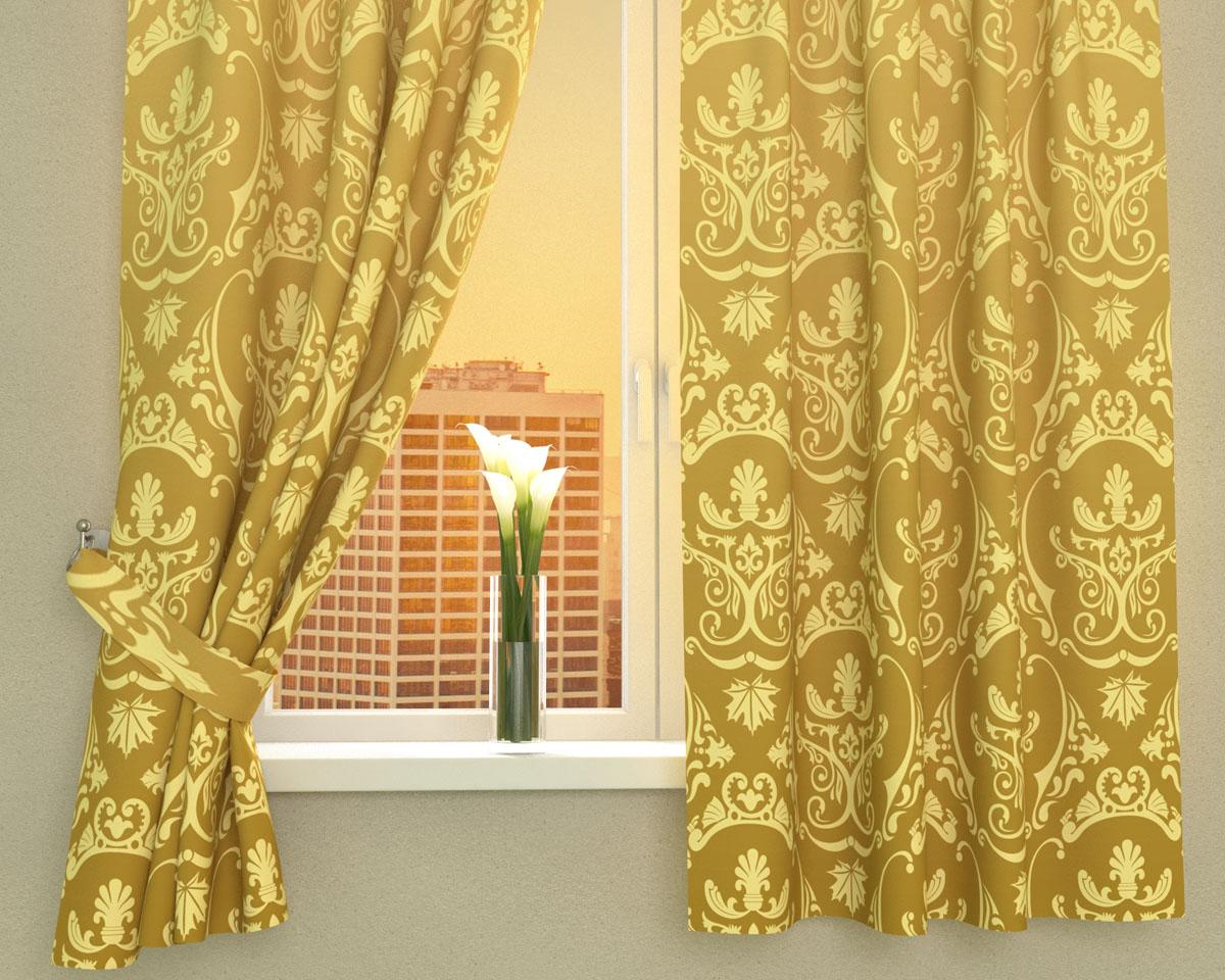 Комплект фотоштор Сирень Золотые вензеля, на ленте, высота 160 см02455-ФК-ГБ-002Фотошторы для кухни Сирень Золотые вензеля, выполненные из габардина (100% полиэстера), отлично дополнят украшение любого интерьера. Особенностью ткани габардин является небольшая плотность, из-за чего ткань хорошо пропускает воздух и солнечный свет. Ткань хорошо держит форму, не требует специального ухода. Крепление на карниз при помощи шторной ленты на крючки. В комплекте 2 шторы. Ширина одного полотна: 145 см.Высота штор: 160 см.Рекомендации по уходу: стирка при 30 градусах, гладить при температуре до 110 градусов.Изображение на мониторе может немного отличаться от реального.Подхваты в комплект не входят.
