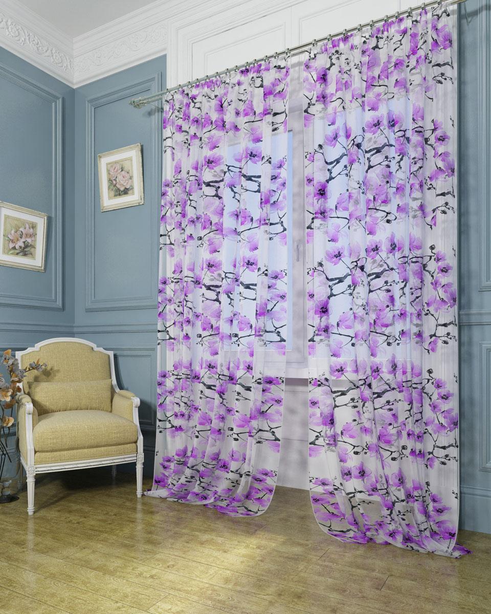 Комплект тюлей Сирень Цветы красками, на ленте, высота 260 см комплект фотоштор сирень цветок любви на ленте высота 260 см