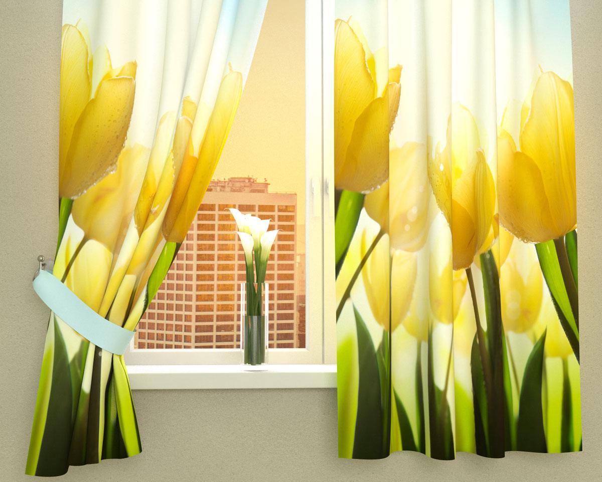 Комплект фотоштор Сирень Тюльпаны, на ленте, высота 160 см комплект фотошторы и покрывало сирень закат