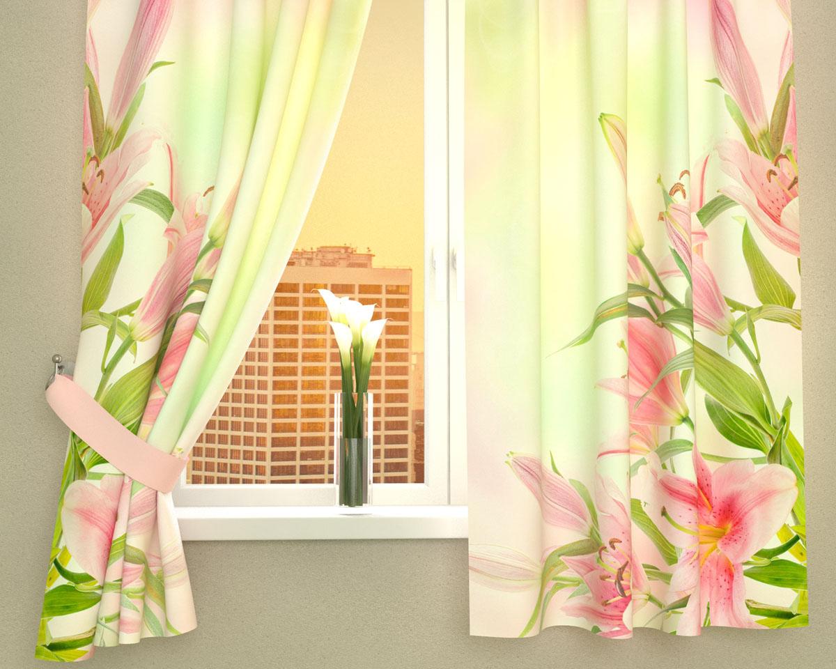 Комплект фотоштор Сирень Букет розовых лилий, на ленте, высота 160 см02981-ФК-ГБ-002Фотошторы для кухни Сирень Букет розовых лилий, выполненные из габардина (100% полиэстера), отлично дополнят украшение любого интерьера. Особенностью ткани габардин является небольшая плотность, из-за чего ткань хорошо пропускает воздух и солнечный свет. Ткань хорошо держит форму, не требует специального ухода. Крепление на карниз при помощи шторной ленты на крючки. В комплекте 2 шторы. Ширина одного полотна: 145 см.Высота штор: 160 см.Рекомендации по уходу: стирка при 30 градусах, гладить при температуре до 110 градусов.Изображение на мониторе может немного отличаться от реального.Подхваты в комплект не входят.