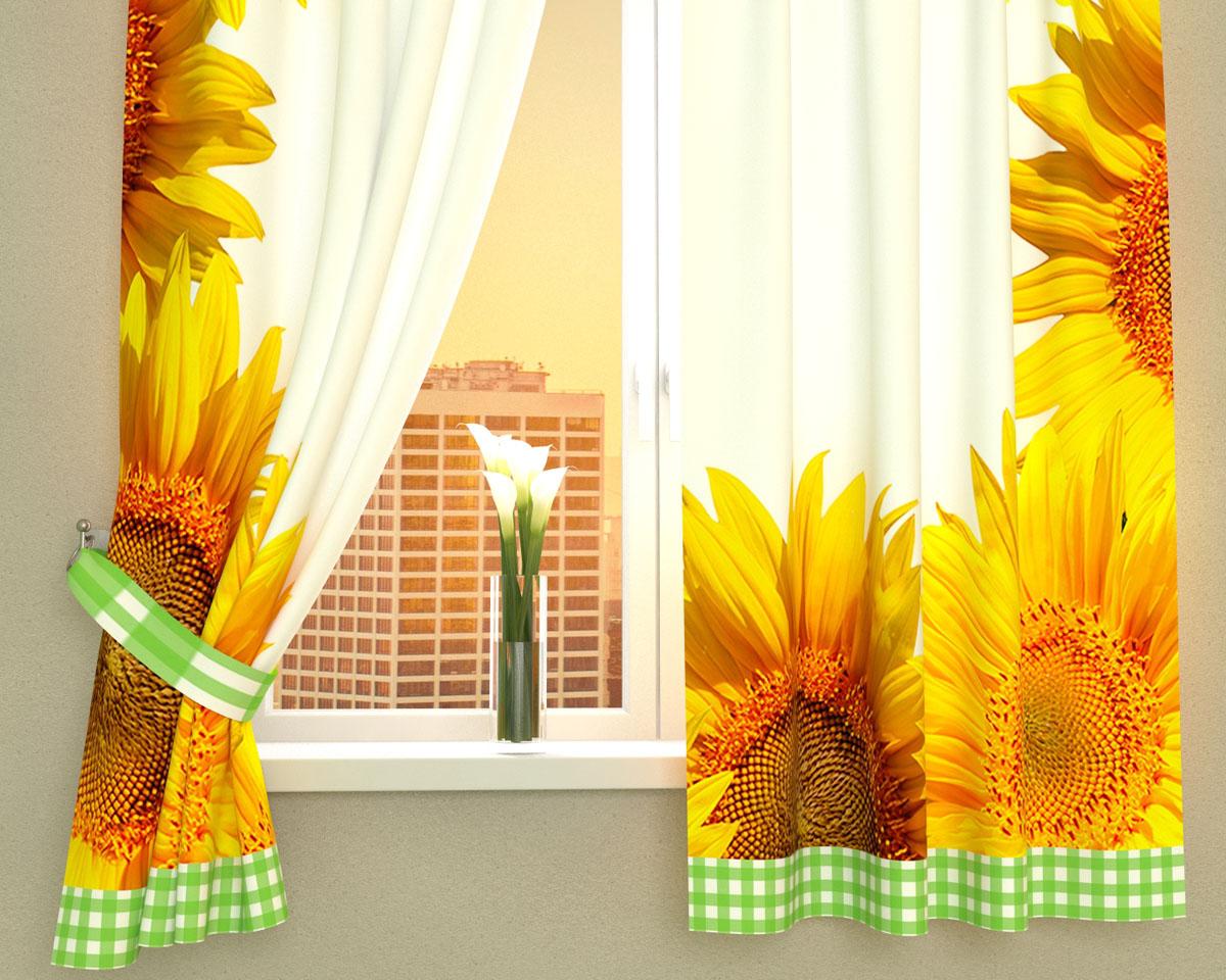 """Фотошторы для кухни Сирень """"Солнечное настроение"""", выполненные из габардина (100% полиэстера), отлично дополнят украшение любого интерьера. Особенностью ткани габардин является небольшая плотность, из-за чего ткань хорошо пропускает воздух и солнечный свет. Ткань хорошо держит форму, не требует специального ухода. Крепление на карниз при помощи шторной ленты на крючки.   В комплекте 2 шторы. Ширина одного полотна: 145 см.Высота штор: 160 см.Рекомендации по уходу: стирка при 30 градусах, гладить при температуре до 110 градусов.Изображение на мониторе может немного отличаться от реального.Подхваты в комплект не входят."""
