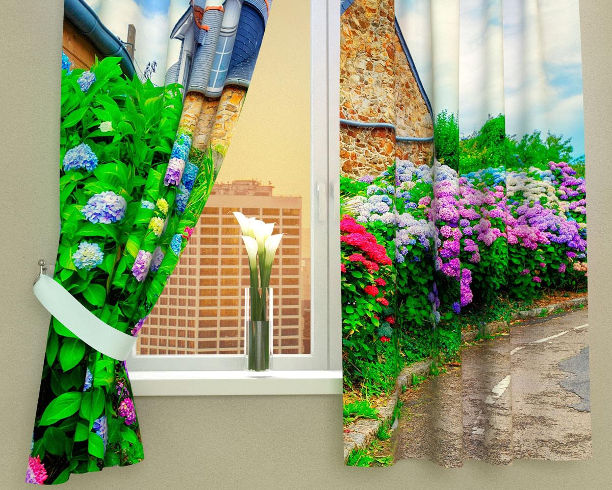 """Комплект фотоштор Сирень """"Загородный сад"""", на ленте, высота 160 см"""