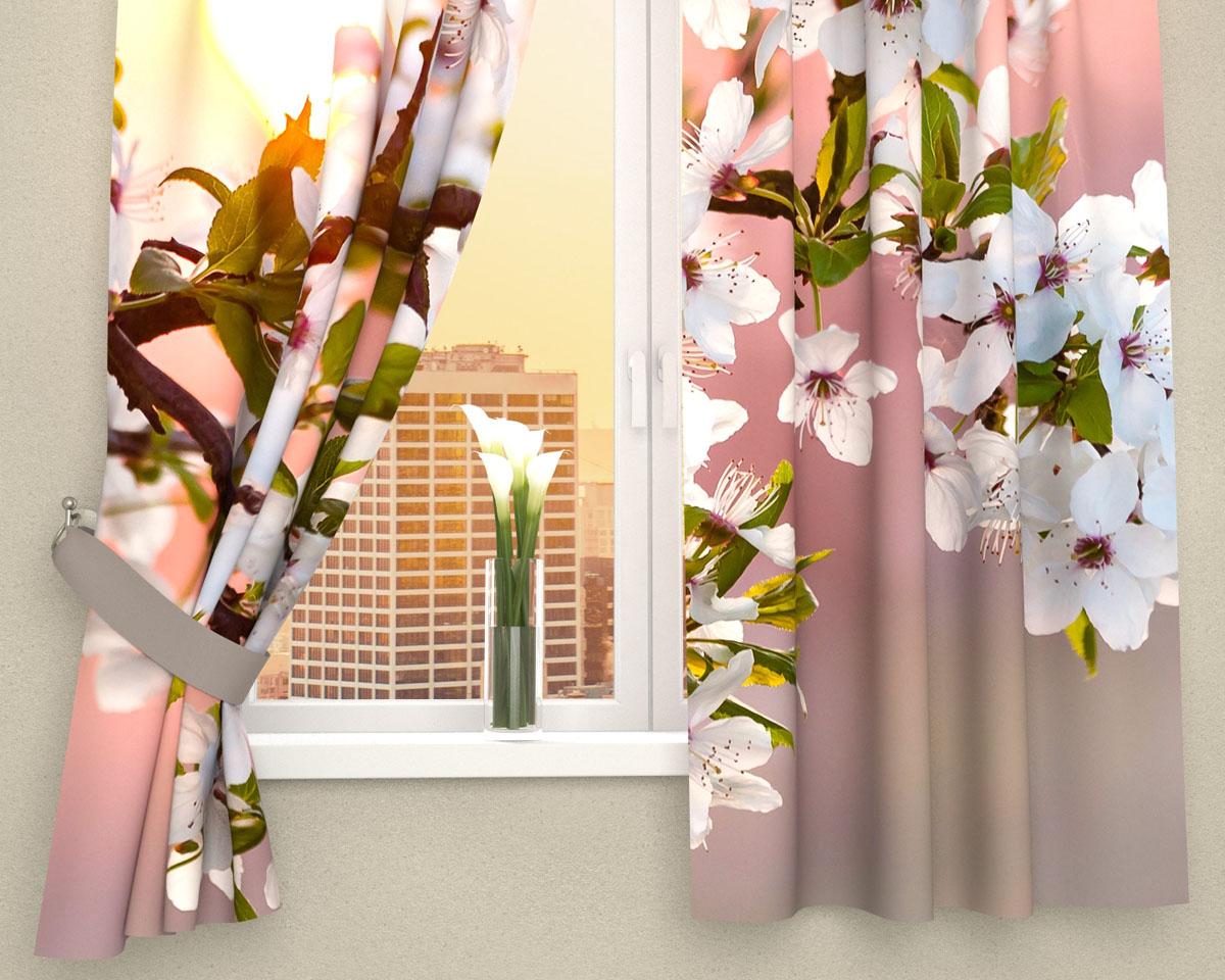 """Комплект фотоштор Сирень """"Цветы в закате солнца"""", на ленте, высота 160 см"""