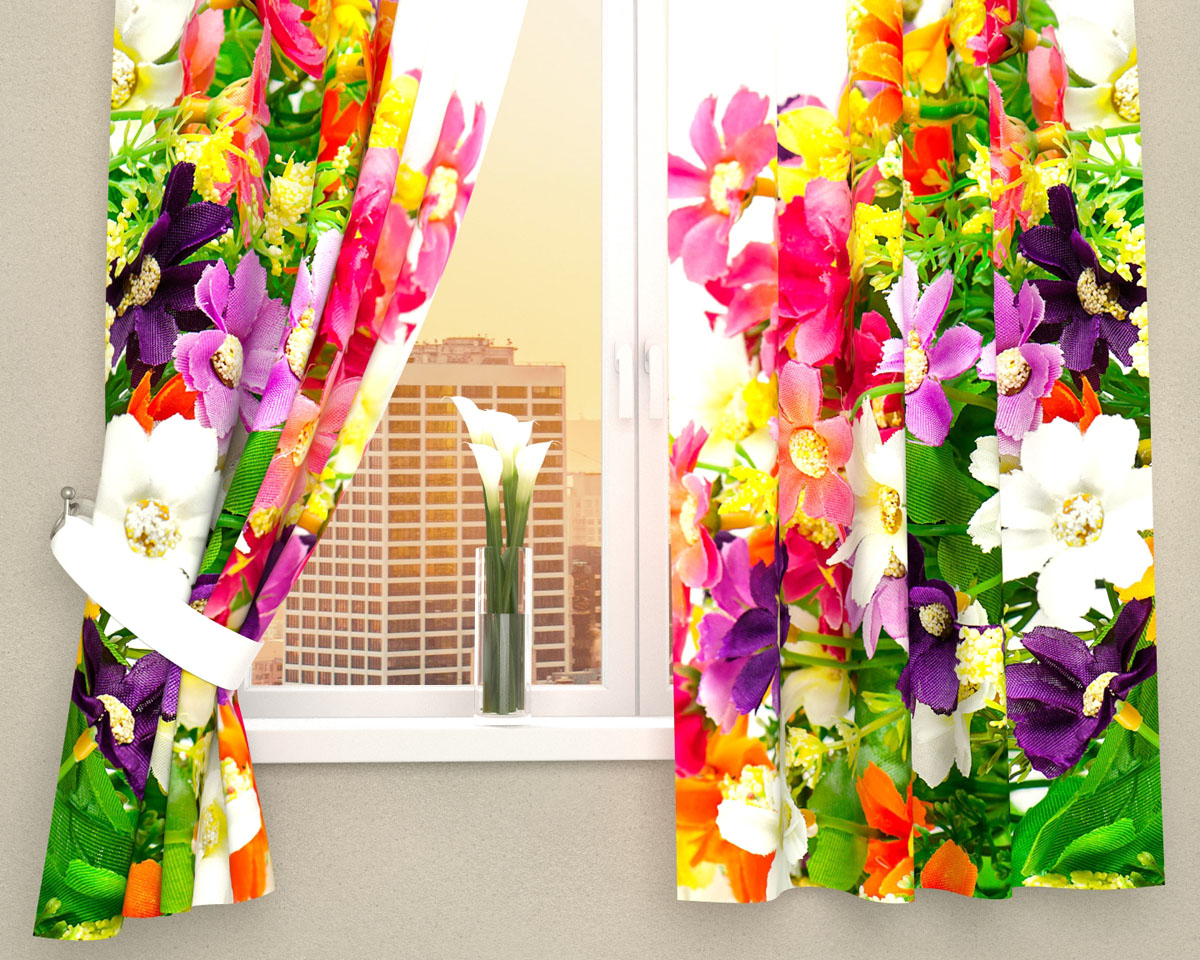 Комплект фотоштор Сирень Весенние полевые цветы, на ленте, высота 160 см03467-ФК-ГБ-002Фотошторы для кухни Сирень Весенние полевые цветы, выполненные из габардина (100% полиэстера), отлично дополнят украшение любого интерьера. Особенностью ткани габардин является небольшая плотность, из-за чего ткань хорошо пропускает воздух и солнечный свет. Ткань хорошо держит форму, не требует специального ухода. Крепление на карниз при помощи шторной ленты на крючки. В комплекте 2 шторы. Ширина одного полотна: 145 см.Высота штор: 160 см.Рекомендации по уходу: стирка при 30 градусах, гладить при температуре до 110 градусов.Изображение на мониторе может немного отличаться от реального.Подхваты в комплект не входят.